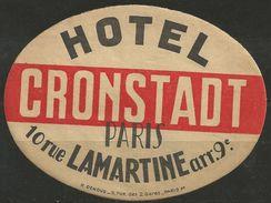 Etiquette D'hôtel : Hôtel Cronstadt - Paris - Etiketten Van Hotels