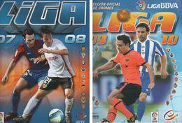 2 ALBUMES DE CROMOS DE FÚTBOL CON MUCHOS CROMOS (LIGA 2007-08 Y 2009-2010) - Tarjetas