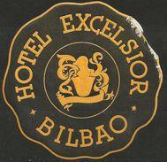 Etiquette D'hôtel : Hôtel Excelsior - Bilbao - Espagne (traces D'adhérence) - Hotel Labels