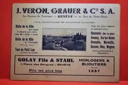 Genève - Carte Dépliant Publicitaire - J VERON GRAUER Et CIE - GE Genève