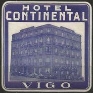 Etiquette D'hôtel : Hôtel Continental - Vigo - Espagne - Hotel Labels