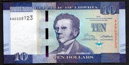 LIBERIA : 10 Dollars - 2016 - UNC - Liberia