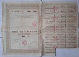 ACTION TITRE COLLECTION: FONDERIE A. MASSARD - 1927 - Industrie