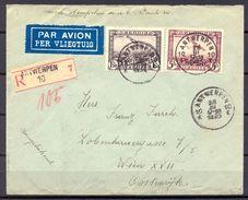 BÉLGICA , 1935 , SOBRE CERTIFICADO ENTRE AMBERES Y VIENA , CORREO AÉREO YV. 2,4 , LLEGADA , TRÁNSITO - Bélgica
