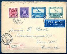 BÉLGICA , 1932 , SOBRE CERTIFICADO ENTRE BRUSELAS Y VIENA , CORREO AÉREO YV. 1,3 + 317 , 322 , LLEGADA , TRÁNSITO - Bélgica