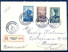BÉLGICA , 1934 , SOBRE CERTIFICADO ENTRE BRUSELAS Y RIGA ( LETONIA ) , YV. 386 , 388 , 389 - Bélgica