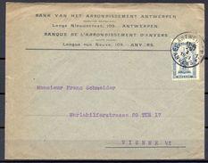 """BÉLGICA , 1921 , AMBERES - VIENA , YV. 164 , SOBRE COMERCIAL """" BANQUE DE L'ARRONDISSEMENT D'ANVERS """" - Bélgica"""