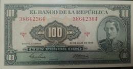 O) 1965 COLOMBIA, BANKNOTE- 100 PESOS ORO- SERIE Y-AMERICAN BANK NOTE COMPANY, SANTANDER, UNC - Kolumbien