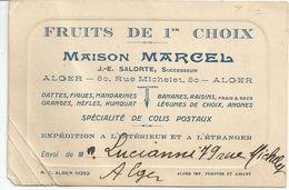Carton  Publicitaire MAISON MARCEL, Fruits De 1er Choix à ALGER - Factures & Documents Commerciaux