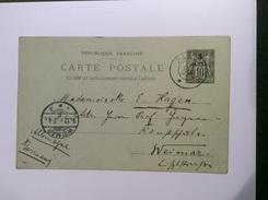 Zanzibar Bureau Français Entier Postal Type Sage 1 Anna 1897 > Weimar (Sansibar Lettre Postal Stationery Brief - Sansibar (1894-1904)