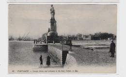 Egypte >Port-Saïd  // LESSEPS STATUE AND ENTRANCETO SUEZ CANAL--LL. N°49 - Port Said