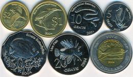 Keeling Cocos Islands 5+10+20+50 Cents + 1+2+5 Dollars 2004 UNC Unusual Coin Set (1 Bimetall) - Monnaies