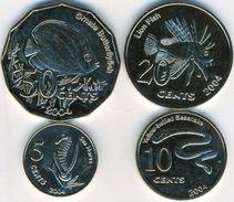 Keeling Cocos Islands 5+10+20+50 Cents 2004 UNC Unusual Coin Set. - Coins