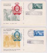 SAN MARINO 1956 Arengo E Assistenza Invernale - 2 FDC - San Marino
