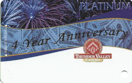 Thunder Valley Casino - Lincoln CA - BLANK 4 Yr Anniversary Platinum Slot Card - Casino Cards