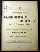 Ferrovie Orario Generale Servizio - Linea Chiasso Como Lecco 1923 - Unclassified