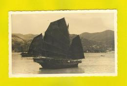 REAL PHOTO CARD MACAU MACAO CHINA BOAT JUNK 1950s BOATS SHIPS BATEAUX - China