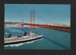 LISBOA POSTCARD 1960 Years Fantasy Ship Ocean Liner TEJO BRIDGE PORTUGAL LISBON - Postcards