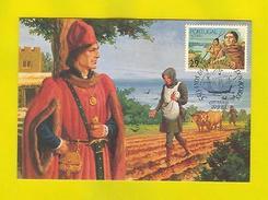 MAXIMUM POSTCARD PORTUGAL Year 1989 AZORES AÇORES POVOAMENTO Agriculture Oxen - Postcards