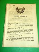 Decreti Regno Sardegna N.°1728 Distretto Esattoriale Provincia Di Cagliari 1854 - Alte Papiere