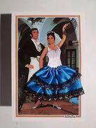 SILK EMBROIDERED PC GLAMOUR COUPLE DANCE FLAMENCO SPAIN ESPAÑA ESPANA ESPAGNE Z1 - Postcards