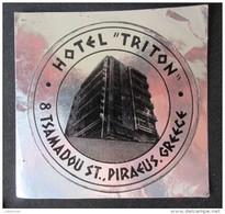 HOTEL MOTEL INN RESIDENCE HOUSE TRITON PIRAEUS HELIOS GREECE LUGGAGE LABEL ETIQUETTE AUFKLEBER DECAL STICKER - Hotel Labels