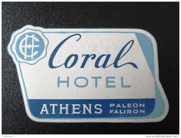 HOTEL MOTEL INN RESIDENCE CORAL PALEON FALIRON  ATHENS GREECE LUGGAGE LABEL ETIQUETTE AUFKLEBER DECAL STICKER - Hotel Labels