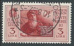 1932 REGNO POSTA AEREA USATO DANTE 3 LIRE - A28-3 - Poste Aérienne