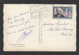 DD / FRANCE SUR CP / TP 1271 MARC SANGNIER ET AUBERGE DE LA JEUNESSE OBL ET FLAMME BIARRITZ ..  -8 1963 Bses PYR. - France