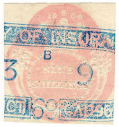 (I.B) QV Revenue : General Duty Adhesive 9/- (First Series) - 1840-1901 (Victoria)