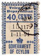 (I.B) Ceylon Telegraphs : Provisional 40c (1894) - Ceylon (...-1947)
