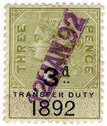 (I.B) QV Revenue : Transfer Duty 3d (1892) - 1840-1901 (Victoria)