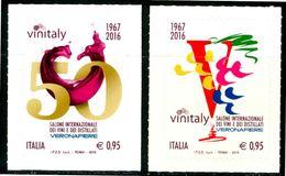 ITALIA / ITALY 2016** - Vinitaly - 2 Val. Autoadesivi, MNH, Come Da Scansione - Vini E Alcolici