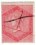 (I.B) QV Revenue : Customs Duty 6d - 1840-1901 (Victoria)