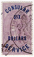 (I.B) QV Revenue : Consular Service $6 On £2 OP - 1840-1901 (Victoria)
