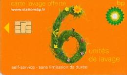 # Carte A Puce Portemonnaie  Lavage BP - Fleurs - Orange - 6u - Puce1? - Offerte Non Gratté - Tres Bon Etat - - Frankrijk