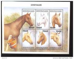 GUINEE   1514  MINT NEVER HINGED MINI SHEET OF HORSES - Paarden