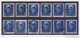 LUOGOTENENZA:  1945  TIRATURA  NOVARA  -  35 C. AZZURRO  US. -  RIPETUTO  12  VOLTE  -  SASS. 527 - 1944-46 Lieutenance & Humbert II
