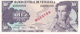 ESPECIMEN -BILLETE DE VENEZUELA DE 10 BOLIVARES DEL AÑO 1980 SIN CIRCULAR-UNCIRCULATED (SPECIMEN) (BANKNOTE) MUESTRA - Venezuela