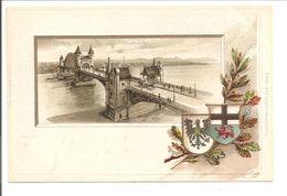 Bonn. Die Neue Rheinbrücke. Präge-Wappen Karte - Bonn