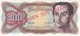 ESPECIMEN -BILLETE DE VENEZUELA DE 100 BOLIVARES DEL AÑO 1972 CALIDAD EBC (XF) (SPECIMEN) (BANKNOTE) - Venezuela