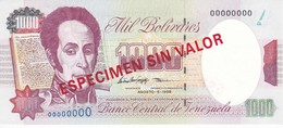 ESPECIMEN -BILLETE DE VENEZUELA DE 1000 BOLIVARES DEL AÑO 1998 SIN CIRCULAR - UNCIRCULATED (SPECIMEN) (BANKNOTE) - Venezuela
