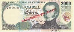 ESPECIMEN -BILLETE DE VENEZUELA DE 2000 BOLIVARES DEL AÑO 1998 SIN CIRCULAR - UNCIRCULATED (SPECIMEN) (BANKNOTE) - Venezuela