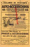 75- PARIS- PUBLICITE AUTO ACCESSOIRES-PNEUS-RECLAMES PRINTEMPS 1939- AUTOMOBILE-66 AV. GRANDE ARMEE- - Cars