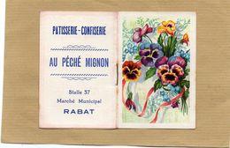 PETIT ALMANACH DE 1954 - MAROC - RABAT - PATISSERIE AU PECHE MIGNON - FLEURS PENSEES - Calendriers