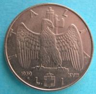 Italia Regno 1 Lira Impero 1939 XVIII Ac/Ni - 1861-1946 : Kingdom