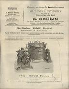 75 - PARIS - PUBLICITE - Machines Et Ustensiles Industries Du Lait A. Gaulin - Stérilisateur Rotatif - France
