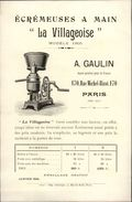 75 - PARIS - PUBLICITE - Ecrémeuses à Main La Villageoise A. GAulin - Rue Michel Bizot XII ème - France