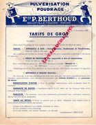 69 -BELLEVILLE SUR SAONE-BELLE PUBLICITE TARIFS ETS. P. BERTHOUD-PULVERISATEUR POUDRAGE- 1938 AGRICULTURE AGRICOLE - Agriculture