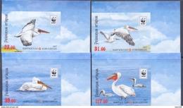 2017. Kyrgyzstan, WWF, Birds, Dalmatian Pelican, Set IMPERFORATED, Mint/ ** - Kyrgyzstan